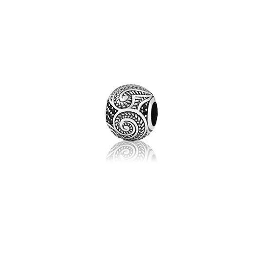 Shining Koru, silver bead charm with black spinel gemstone meaning growth from Evolve Inspired Jewellery
