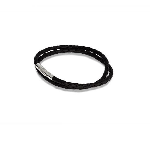 Black Double Twist Leather Charm Bracelet, from Evolve Inspired Jewellery
