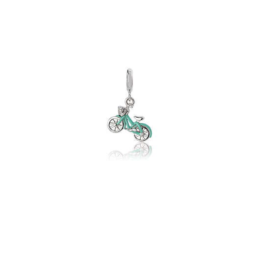 Cruiser Bike, enamel and silver pendant charm meaning freedom from Evolve Inspired Jewellery