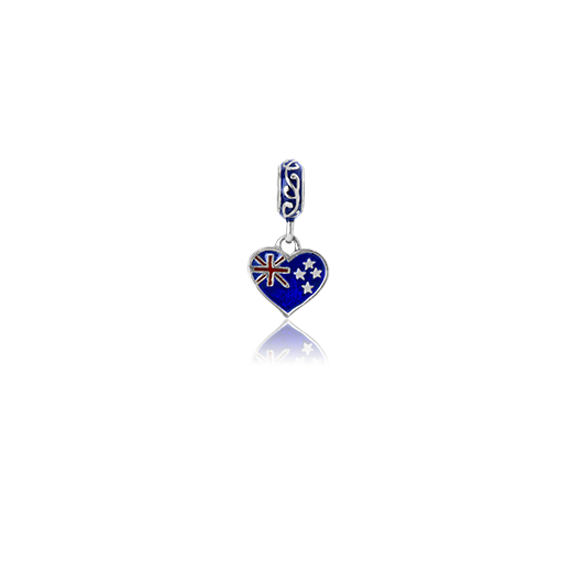NZ Love, enamel and silver pendant charm meaning love and pride from Evolve Inspired Jewellery