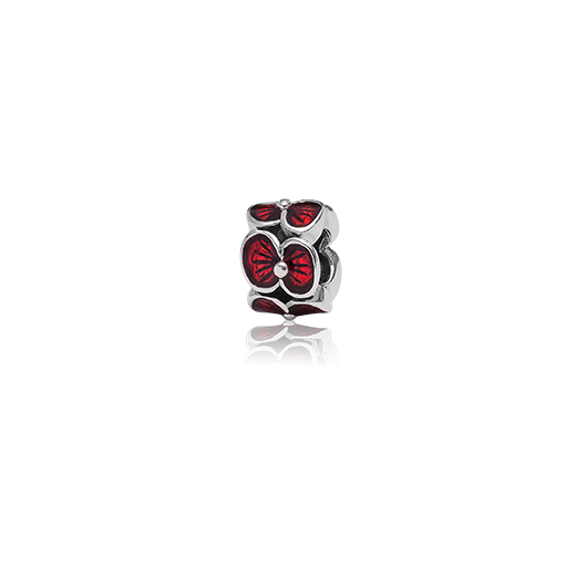 Rememberence Poppy, enamel bead charm from Evolve Inspired Jewellery