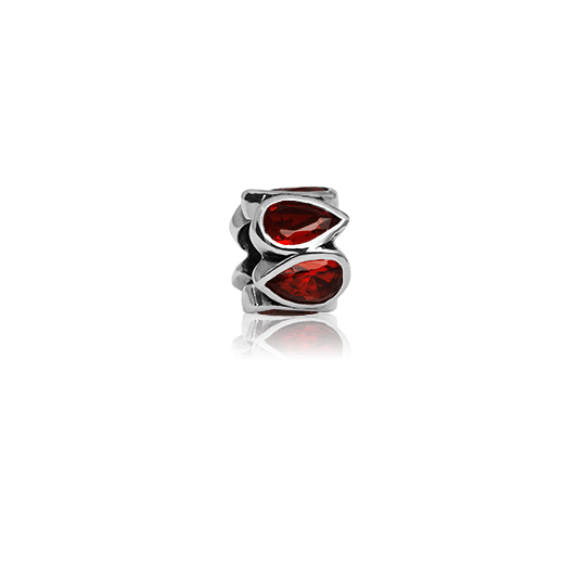 Fire Droplets, silver bead charm in a tear drop design featuring red cubic zirconia stones, from Evolve Inspired Jewellery