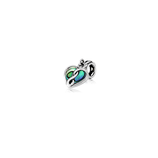 Eternity Paua Heart, paua bead charm from Evolve Inspired Jewellery