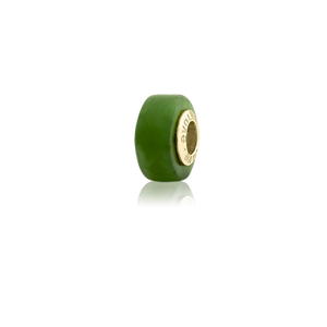Pounamu, new zealand pounamu or greenstone charm with a gold core from Evolve Inspired Jewellery