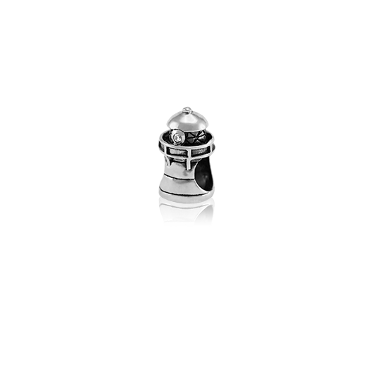 Lighthouse, silver bead charm with cubic zirconia stone meaning guidling light from Evolve Inspired Jewellery