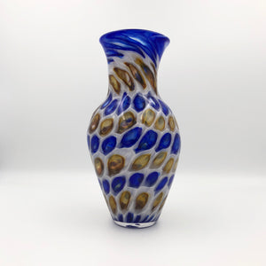 Murrine Vase in Blue, Brown, and White