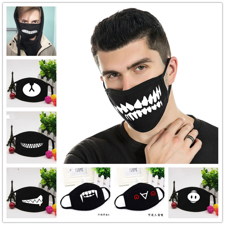 Halloween Party Funny Face Mask Anti Dust Mask Black Cartoon Bear For Women Men Cosplay Decor Carnival Festive Masks Reusable