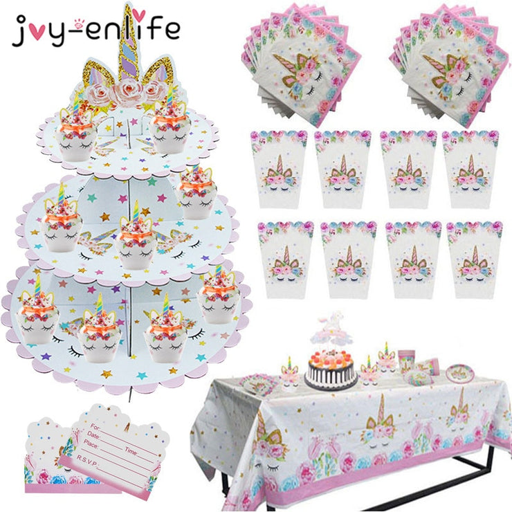 Unicorn Birthday Party Decors Disposable Tableware Kit Unicorn Balloon Cups Plates Napkin Kids Birthday Unicornio Party Supplies