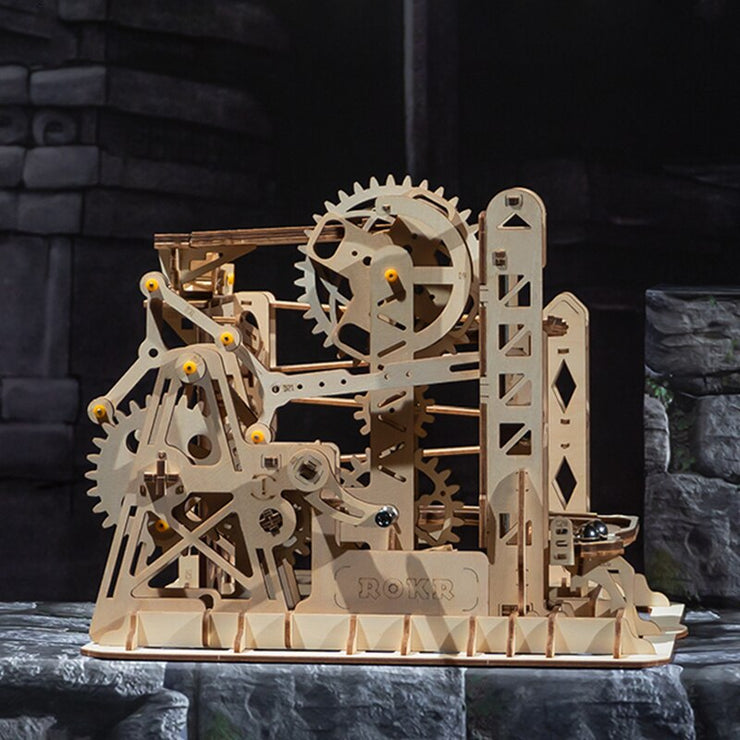 Robotime 4 Kinds DIY Run Game Wooden Gear Drive Model Building Kits Mechanical Gift for Children LG501-LG504 for Dropshipping