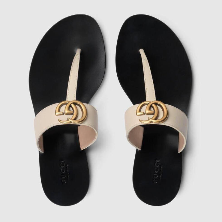 GG Leather thong sandal with Double G 497444 A3N00 9022