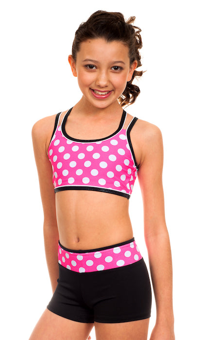 Pink Polka Dots Sports Bra/Hipster Set