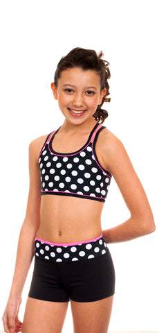 Black Polka Dots Sports Bra/Hipster Set