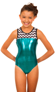 Jennifer Teal Chevron Leotard
