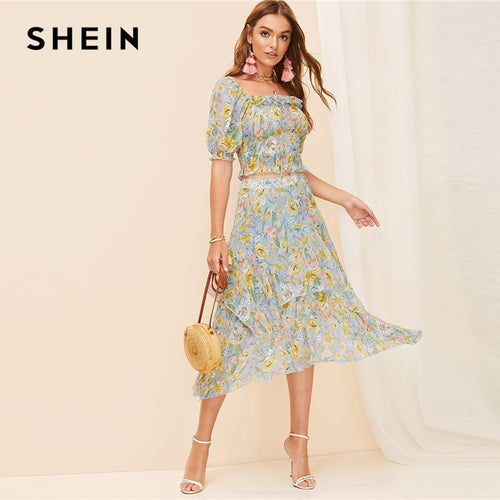 74cc87351 SHEIN Boho Allover Botanical Print Ruffle Trim Shirred Crop Top Blouse and  Layered Asymmetrical Skirt Set