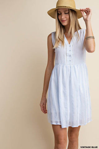Vintage Blue Striped Dress