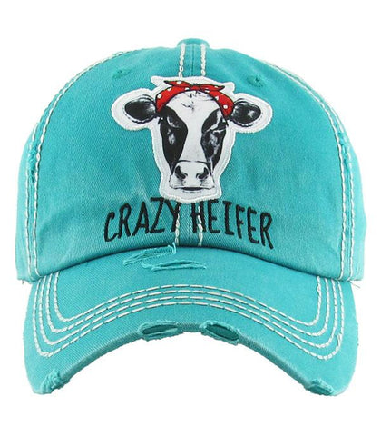 Crazy Heifer Hat - Teal