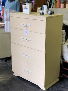Yellow and White Four Drawer Dresser