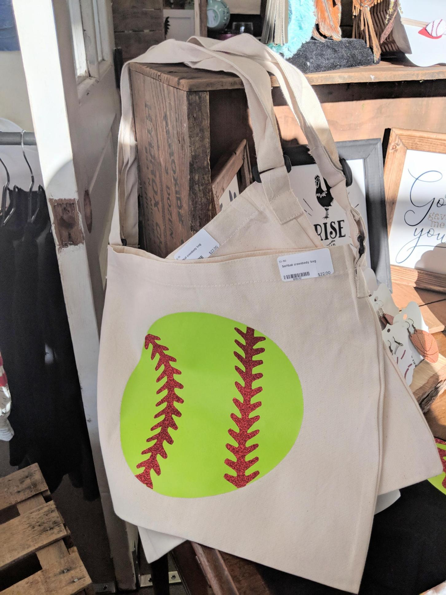 Softball Canvas Crossbody Bag