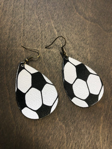 Soccer Leather Teardrop Earrings
