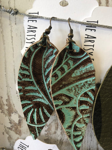 Teal and Brown Pinched Leather Earrings