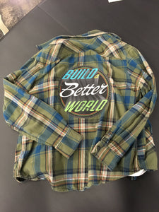 Graphic Better World Green Flannel Shirt Size Large