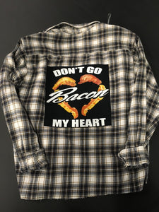 Graphic Bacon Flannel Shirt Size Medium