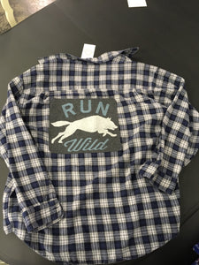 Graphic Run Wild Blue Flannel Shirt Size X Large