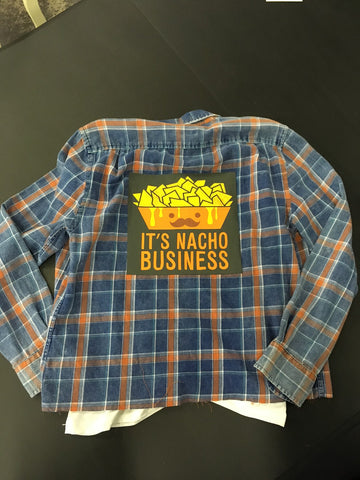 Graphic Nacho Business Flannel Shirt Size Small