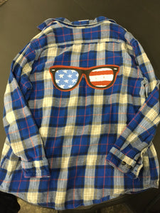 Graphic Sunglasses Blue Flannel Shirt Size 2X
