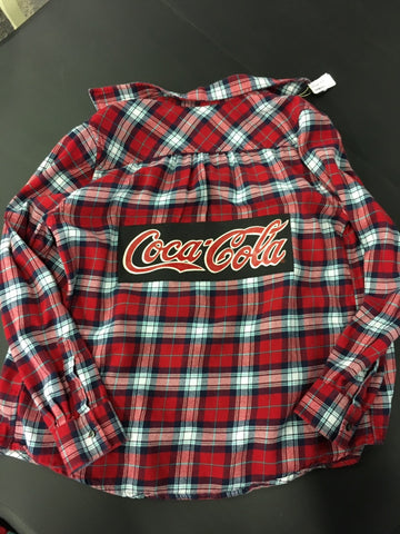 Graphic Coca Cola Red Flannel Size Medium
