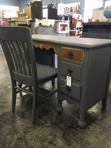 Charcoal Gray Desk with Chair