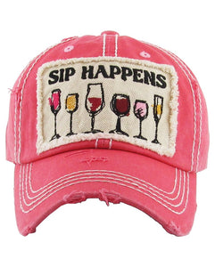 Sip Happens Hat - Pink