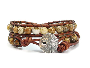 Picture Jasper Double Leather Wrap Bracelet