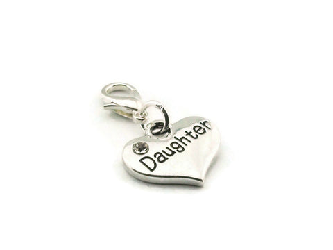 Daughter Heart Clip On Charm