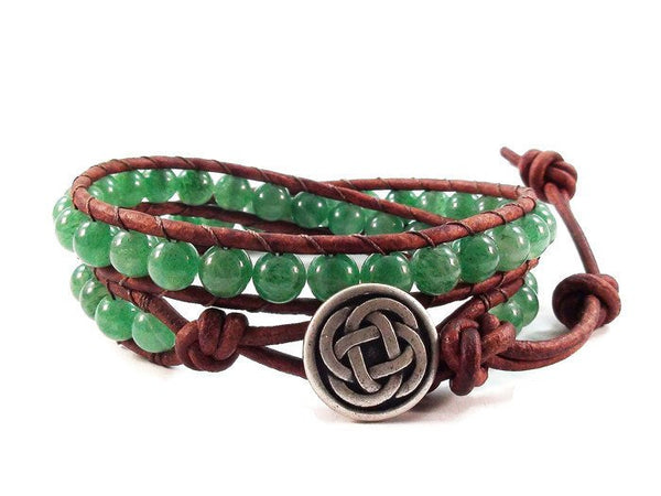 Celtic Style Leather Wrap Bracelet