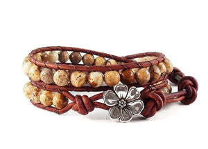 Picture Jasper Leather Wrap Bracelet