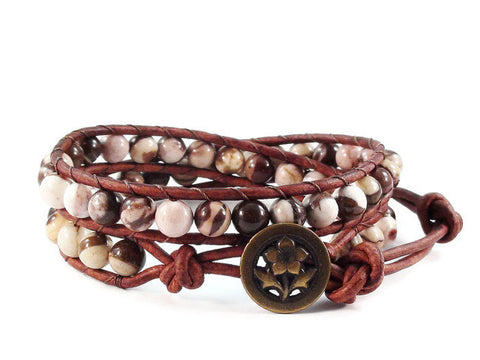 Zebra Jasper Double Leather Wrap Bracelet