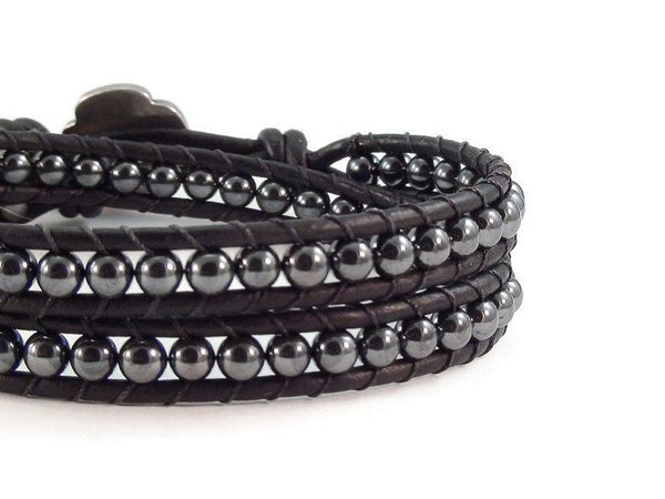 Hematite Leather Wrap