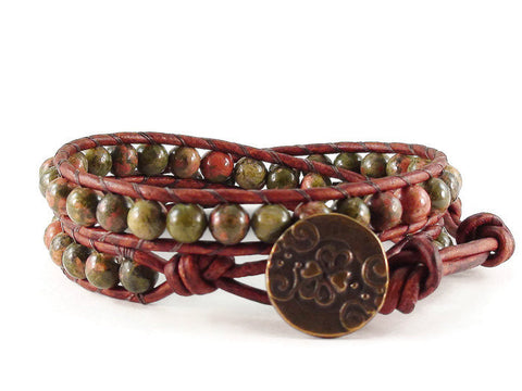Unakite Double Leather Wrap Bracelet