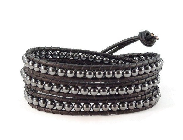 Moon and Stars Leather Wrap Bracelet