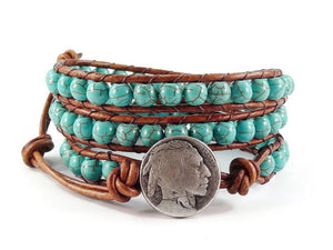 Indian Head Leather Wrap Bracelet