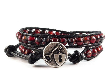 Lock and Key Leather Wrap Bracelet