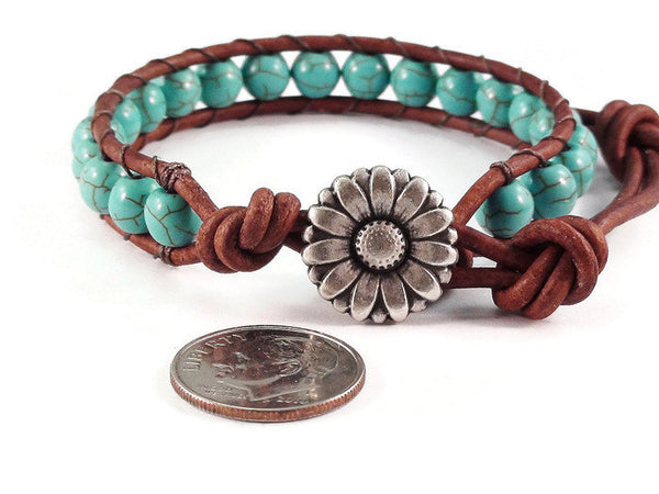 Daisy Leather Bracelet