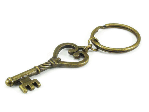 Skeleton Key Heart Keychain