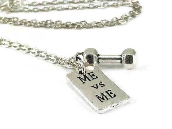Me vs Me Necklace with Dumbbell