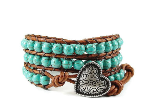 Turquoise Magnesite Triple Leather Wrap Bracelet