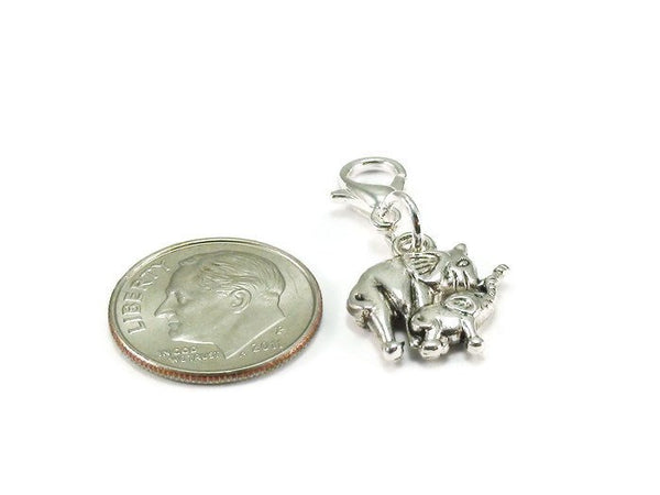 Mother Elephant Baby Elephant Clip On Charm