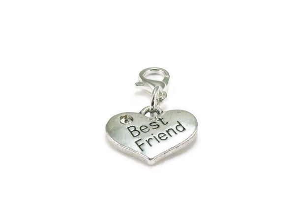 Best Friend Heart Clip on Charm
