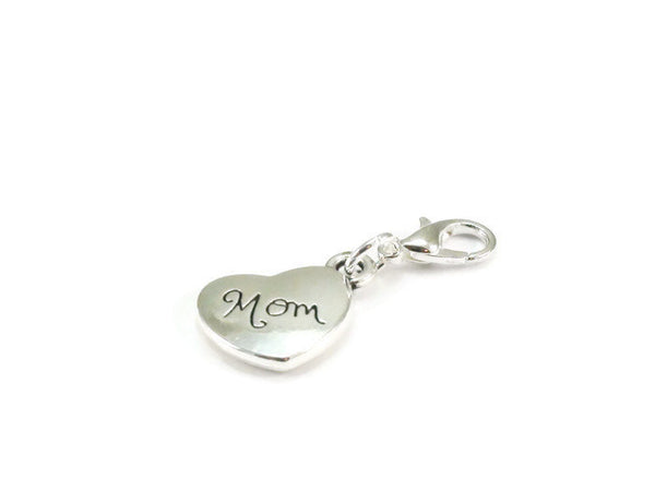 Mom Heart Clip On Charm