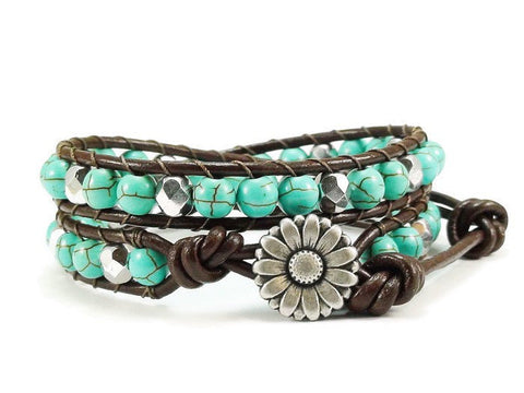 Daisy Double Leather Wrap Bracelet